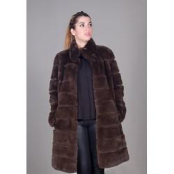 Abrigo rex color marrón mujer