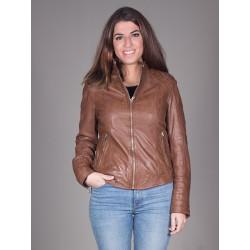 Cazora de cuero marrón
