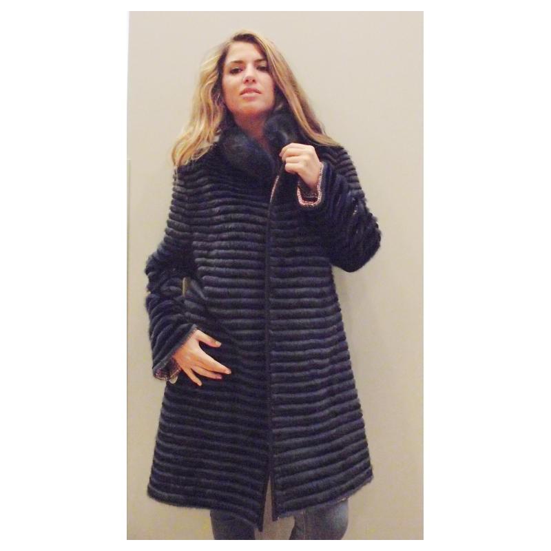 Abrigo de visón tireado negro y azul